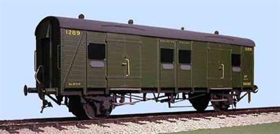 This kit for the Southern Railway 4 wheel van with even planked sides can be built as the original SECR or SR passenger luggage van (PLV) with planked ends, or with end doors as a general utility van (GUV).Supplied with metal wheels, screw couplings and sprung buffers
