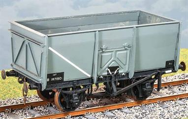 The all-steel construction sloped sided design was produced by wagon builders Charles Roberts & Co. in the mid-1930s as a private venture design. During WW2 a large number of wagons to this design were ordered by the government Ministry of War Transport to boost the rail wagon fleet in Britain and to supply wagons to France in support of the liberation of Europe. The European railways preferred to use larger wagons, so the small British supplied wagons were returned around 1950. Around 10,000 were taken into British Railways stock with withdrawals taking place in the 1960s. Some ended up private industry use.Transfers supplied for BR lettering, metal wheels and 3 link couiplings. Additional parts to enable the vehicle to be modeled incorporating modifications made to the prototypes during their working life are included where appropriate.
