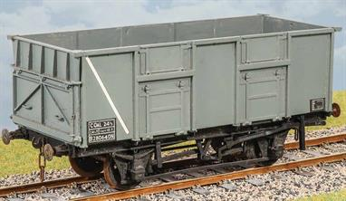 These large 24½-ton open wagons were intended to be the standard bulk coal wagons under the BR ideal stock plan, being the heaviest 2-axle wagons which could be granted near-universal route clearance. Where clearance wasn't available however was under the screens of many collieries. While the slightly lower 21-ton wagons proliferated this 24½ type was built in limited numbers and frequently made a nuisance of themselves by getting mixed in with the 21-tonners when going somewhere they wouldn't fit!2,150 of this design were built in 1953 – 1956. Used to carry coal for steel works, power stations and engines sheds. Withdrawn by 1982. Transfers for BR 1950s – 1970s.Supplied with metal wheels and 3 link couplings.