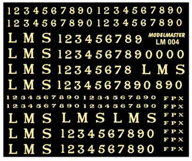 Modelmaster Decals MMLM004 00 Gauge LMS Locomotive Lettering and Numbers 1928-1947 Serif Style Straw ColourModelmaster decal sheet LM004 LMS 1928-1947 Serif Locomotive Lettering and NumberingDecal sheet of LMS plain straw yellow lettering applied to goods ans shunting engines.The sheet includes numbers in several sizes, check photographs for details as the size of the numbers was choosen to fit the space available, but sometimes whichever transfers were in stock were used!
