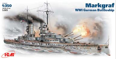 ICM 1/350 WW1 German Battleship Markgraf Kit S.005Icm's 1/350th S.005 Scale Plastic kit of the World War 1 German Battleship MarkgrafGlue and paints are required to assemble and complete the model (not included)