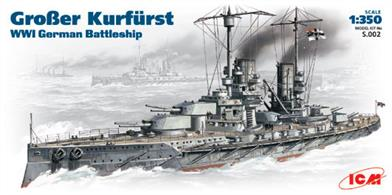 ICM 1/350 WW1 German Battleship Grosser Kurfurst S.002Icm's 1/350th S.002 Scale Plastic kit of the World War 1 German Battleship Grosser KurfurstGlue and paints are required to assemble and complete the model (not included)