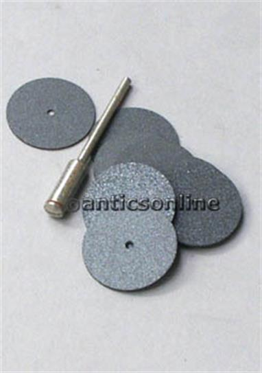 Set of 10 22mm carborundum cutting/slitting discs. Supplied with mandrel for mounting into mini-drills.