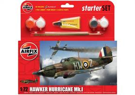 Airfix 1/72 Hawker Hurricane Mk1 Starter Set A55111Comes with glue and paints to assemble and complete the model.