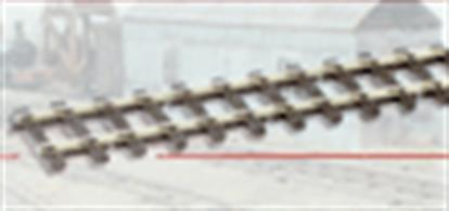 SL-500 has a track width of 16.5mm which gives a equivalent real size of 2ft 4ins making it popular for those who model Narrow gauge in wales and Devon.This track features an irregular sleeper pattern, designed to represent the rough-cut sleepers used on many narrow gauge lines. Code 100 rail is fitted, use SL-10 (conductive) and SL-11 (insulating) rail joiners from the OO/HO range.Track gauge 16.5mm. Length 914mm (36in)