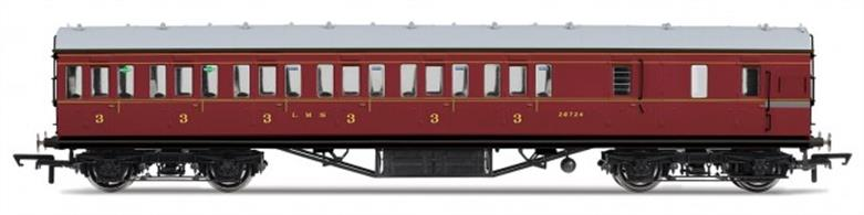 Hornby R4677C OO Gauge LMS 57ft Non-Corridor Suburban Brake Third Class Coach LMS Crimson LiveryDimensions - Length 242mm.A new model of the LMS standard 57-feet length non-corridor or suburban type coach, as used on suburban, stopping and branchline services. Most coach 'sets' would be formed with one of these brake third coaches at each end, with composite and third class coaches between them to make up the seating capacity required. Two-coach sets would also be formed with one brake third and one composite coach and brake third coaches were also used singly on some short branchlines.Model finished in LMS crimson lake livery.Special Features: Handrails, Separate roof vents