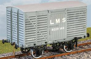 A beer van is an ideal subject for modellers! These wagons with slatted sides were used to distribute beer from Burton on Trent, returning with empty kegs.The LMS built 100 of these vans with slat sides and ends in 1929 and many lasted until the run-down of beer carriage on the railways during the 1960s. Transfers for LMS and BR liveries supplied with the kit.Supplied with metal wheels and 3 link couplings.