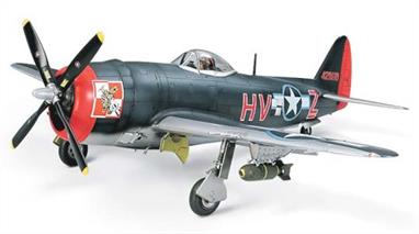 Tamiya 1/48 USAF P-47M Thunderbolt WW2 Fighter Aircraft Kit 61096Following the release of 1/48 Republic P-47D Thunderbolt Razorback Bubbletop versions, Tamiya further increases the range of choices available to modelers with the development of the P-47M.� New parts for depicting late-war P-47M include 1/ Choice of 3 types of vertical dorsal tail fin. 2: Air bakes fitted under wings, behind landing gear, with landing lights relocated to wing tips. 3: Flat type cockpit floor, instrument panel, rudder pedal and side walls made from new parts. 4: Decelerator located on engine front. 2 all-new sets of markings based on dark-blue/blue patterned camouflage used by the 56th Fighter Group of the 8th Air Force. Kit also includes all parts necessary to build P-47M or P-47D Bubbletop versions with or without dorsal tail fins, vastly increasing modeling options.Glue and paints are required