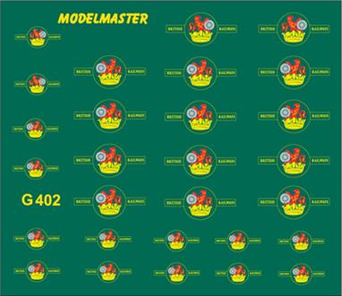 Modelmaster Decals MMG402 00 Gauge British Railways Lion Holding Wheel Locomotive Crests12 pairs of British Railways 1956-1968 'Lion Holding Wheel' locomotive crests.6 each in large and small sizes.