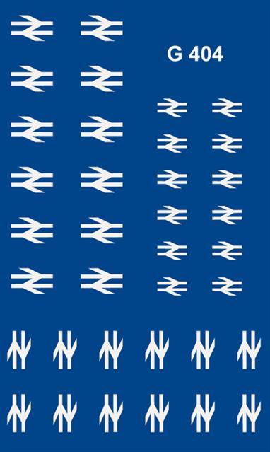 Modelmaster Decals MMG404 00 Gauge British Rail Double Arrow Locomotive & Coach Logos White British Rail post 1964 'Double Arrow' (aka 'arrows of indecision' / 'barbed wire') logos for locomotives and coaches.18 pairs of white 'double arrow' emblems, 6 pairs each of three sizes.Note - For 'Large Logo' locos use sheet 4816