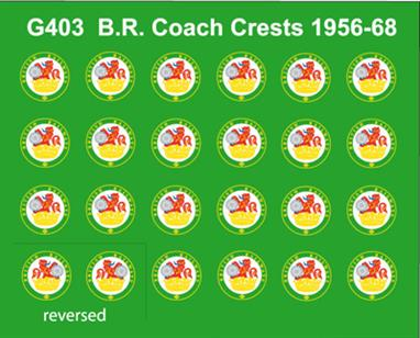 Modelmaster Decals MMG403 00 Gauge British Railways Lion Holding Wheel Coaching Stock Crests12 pairs of British Railways 1956-1968 circular 'Lion Holding Wheel' crests used on coaching stock and some locomotive types (eg Westerns) and multiple-unit trains.