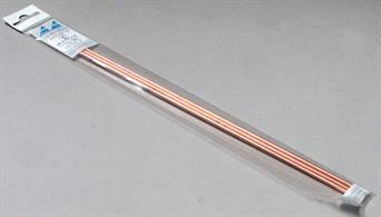 1/8in (3.2mm) diameter copper tube, wall thickness 0.014in. Pack of 3 lengths each 304mm/12in