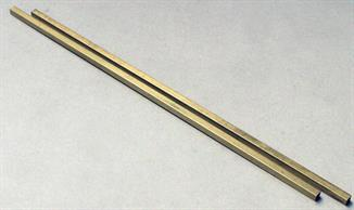 5/32in outside dimension square brass tube. Internal dimension 1/8in. Pack of 2 lengths each 304mm/12in.