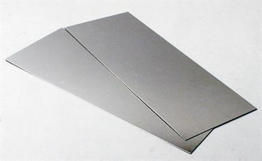 0.032in/32 thou. (0.8mm) thick aluminium sheet measuring 4in x 10in / 101mm x 254mm. Pack of 2 sheets.