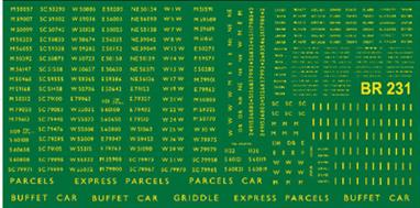 Modelmasters Decals MMBR231 00 Gauge British Railways Diesel Multiple Units 1948-1965Large sheet of B.R. 1948 - 1965 Diesel Multiple Units. Numbers, names, door markings, etc. Includes parcel van markings. B.R. Gill Sans Typeface, Yellow.
