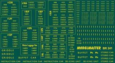 Modelmaster Decals MMBR241 00 Gauge British Railways Southern Region Electric Multiple Units 1948-1965Large sheet of B.R. 1948 - 1965 Southern Region Electric Multiple Units. Coach & Set Numbers, names, door markings, etc. B.R. Gill Sans Typeface, Yellow.