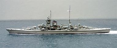 A 1/1250 scale metal model of KMS Prinz Eugen in 1941 by Navis Neptun 1030, see photograph.Modelled as she appeared for her Atlantic sortie with Bismarck. Clearly a lucky ship, she survived WW2 in the form modelled as Neptun No.1030A.