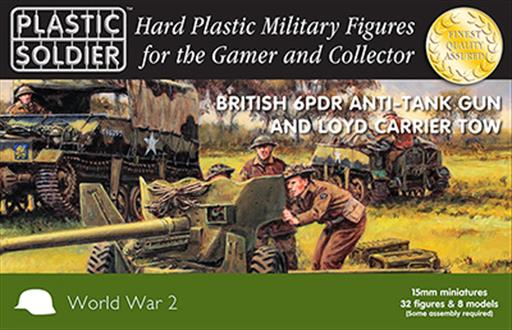 Plastic Soldier WW2G15003 British 6 Pdr Anti Tank Gun & Loyd Carrier 15mm