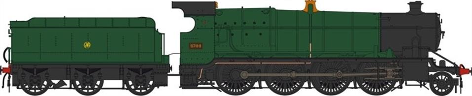 Heljan OO Gauge 4780 GWR 47xx class - GWR 4704 in green with monogram logo.New model announced 2016. Delivery anticipated during 2017.DCC Ready 21; pin decoder required for DCC operation.
