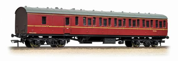 Starting in 1951 British Railways produced a range coaches to a new standard design, utlising a modular system of construction to control the costs. The range included non-corridor suburban type coaches with a large number of side doors to permit rapid boarding and detraining, as required for the intensive suburban services around Britains largest cities.Bachmanns' models reproduce the detail of these coaches, with a range of types being available to form a prototypical train This model is the second class brake coach, with compartments for second class passengera and accommodation for the guard with a small luggage area.Era 5 1957-1966