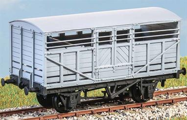 The LMS built 2,050 of these large size cattle wagons between 1923 and 1926, replacing many of the short wheelbase small and medium size wagons which had come from the pre-grouping companies. The LMS had a huge cattle traffic varying from local trips to market, to block trains of imported Irish cattle which could need to move long distances from port to market. These longer wheelbase wagons permitted running at higher speeds, reducing journey times and the need to unload cattle for exercise and feeding en-route. The fleet would have been kept fully utilised and these wagons were still in use into the early 1960s. The transportation of cattle in the UK ceased in the mid seventies.This kit contains all parts necessary to construct one of these vehicles, including wheels and brass bearings. The moulded parts are well produced making construction of the kit a pleasure to do. Full assembly instructions are included and will guide the modeller step by step.
