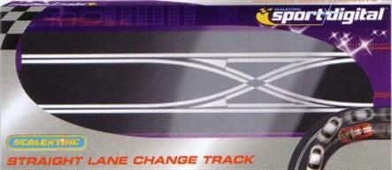 A straight lane cross-over track section for the Scalextric Digital system. This track allows cars to switch between the two lanes of the Scalectrix Sport track. Cars can cross to/from either track.For use ONLY with Sport Digital products