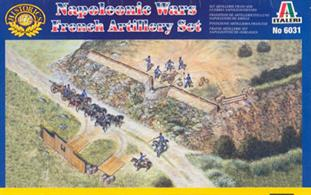 Napoleonic Wars French Artillery Set. Contains 8 horses, 11 figures, 2 field guns and walling unpainted