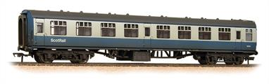 Bachmann Graham Farish 374-066 BR Mk1 SK Second Class Side Corridor Coach BR Blue & Grey with ScotRail Branding. Weathered Finish.