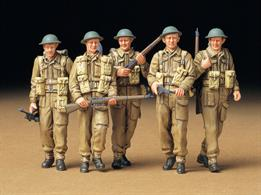 Tamiya 1/35 WW2 British Infantry On Patrol Figure Set 35223 is a 5 figure set of the British Tommy including weapons and equipment.Glue and paints are required