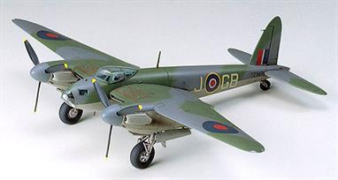 Tamiya 60753 is a RAF Mosquito Bomber or Photo Recon Aircraft  and is moulded in grey and attached to sprues; clear pieces for canopy. Detailed landing gear and wheel wells. Detailed cockpit and instrument panel. Cockpit area includes a transmitter and receiver parts. Cowlings with 3-bladed propellers flank each side of the fuselage. Engraved panel lines on body and wings of plane. Authentic decals for three aircraft versions. Detailed pictorial instructions with a brief history of the Mosquito.Glue and paints are required