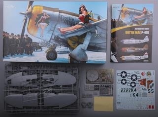 "1/32 scale P-47D in EduArt limited edition. Kit contains A2 size ""Dottie Mae"" artwork by Romain Hugault"