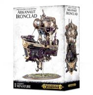 This multi-part plastic kit contains the components necessary to assemble an Arkanaut Ironclad. This kit comprises 152 components, and is supplied with a Citadel 170 x 109 mm oval base and 50mm ball and socket flying stem.