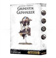 This multi-part plastic kit contains the components necessary to assemble a Grundstok Gunhauler. This model comes in 50 components, and is supplied with a Citadel 105mm Oval base, and 50mm ball and socket flying stem.