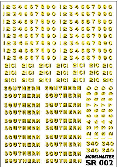 Modelmaster Decals MMSR002 00 Gauge Southern Railway Loco Lettering Bulleid Era Green Liveries - S.R. 1940-1947Comprehensive sheet of Yellow & Black Transfers for GREEN Southern Railway Bulleid LocomotivesS.R. 1940-1947 Comprehensive sheet of Yellow & Black Transfers for GREEN Southern Railway Bulleid Locomotives. There are enough 'SOUTHERN' names to letter no less than ten locomotives. The sheet includes not only a good supply of digits 0 - 9, but 21Cs for Bulleid 4-6-2s, all with matching Buffer Beam Numbers.