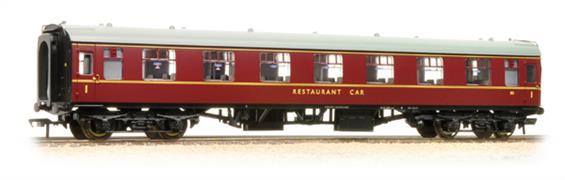 Bachmann Branchline OO Gauge 39-251D BR RFO Restaurant First Open Coach British Railways Maroon LiveryWhen the mark 1 coach fleet was being planned there a return to pre-WW2 on-train dining requirements was anticipated and a number of coaches were built to provide seating capacity for diners. These coaches generally had fewer seats than the standard first and standard class designs, making space for waiters to move easily along the car.This model recreates one of the first class dining saloon coaches, codes RFO, as running in the late 1950s painted in the maroon livery. These coaches would have been found on the most prestigeous services along with a kitchen car, eg. the Bachmann RU coach providing a full meal service.Era 5 1957-1966