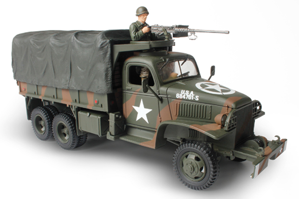 "Unimax Forces of Valor GMC 2 1/2 Ton Cargo Truck<p>1/32 Scale</p><p>The 2 1/2 Cargo Truck, popularly called the ""deuce and a half"", first saw service as a workhorse vehicle in WWII and continues to serve today in numerous variations. The dependable 2 1/2 Ton Cargo Truck is capable of carrying up to 10,000 lb of cargo and boasts a range of up to 500 miles on a single 50 gallon tank of fuel</p>"