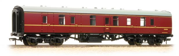 The Mk1 coach was designed as the BR standard coach in the early 1950's. The gangwayed brake van provided parcels and luggage accomodation matching the new coach design.Bachmann's model is to the correct scale length and features many separate parts, replicating detail differences and equipment changes. This model is in as-built condition and painted in the maroon passenger livery of the 1960's. Era 5 1957-1966