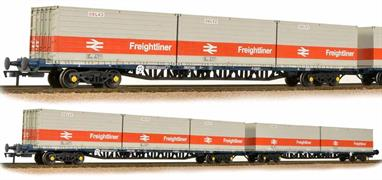 Bachmann 38-625 00 Gauge A pair of BR FGA Freightliner container flat outer wagons.These were the first type of container flat wagons built by British Rail and formed into sets of wagons, each wagons being designed to carry 3 20-foot containers. As these formations of (usually) five wagons were intended to be fixed formations the outer wagons were fitted with side buffers and conventional couplings at one end only. The inner end of the wagons and both ends of the inner wagons had fixed bar couplings which were intended to be uncoupled only at repair depots.The Freightliner flat models feature details such as linkage, pipe work, close couplings, in-board disc-brake detail and sprung buffers. For fixed rake operation the models feature fixed bar couplings between wagons with standard tension lock couplings in NEM pockets at the outer ends. The wagon deck is of die-cast metal construction, giving weight and stability to the vehicle.To model this arrangement Bachmann are producing the outer FGA wagons as a pair, with separate inner wagons being produced to create a longer 'set' to match the train length space available.Each wagon length approx 260mm/10.25in.