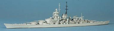 "This model shows Gneisenau as she was for most of her active service during WW2. For a model of Gneisenau as built, Scharnhorst (NN1003A), is the best representation and for a model with 15"" guns see Gneisenau (NN1004B)."