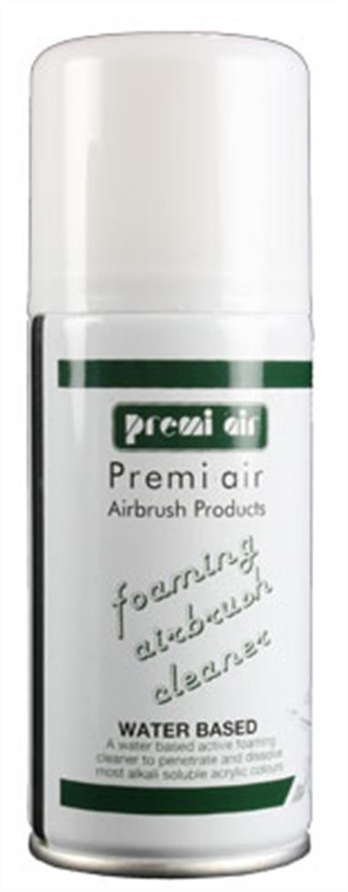 Premi Air Foaming Cleaner is a highly recommended end-of-session airbrush cleaner for extra thorough cleaning away of water-based products, such as alkali soluble acrylics. You can use the straw to direct the aerosol spray at the airbrush nozzle and front parts of your airbrush, up into where the bottle attaches on a bottom-feed airbrush or down into the cup of a gravity feed airbrush. The cleaner foams up to thoroughly get into all of the parts inside. Then spray through with warm water.