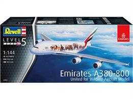 Revell 03882 1/144th Airbus A380-800 Emirates Wild Life Airliner Kit