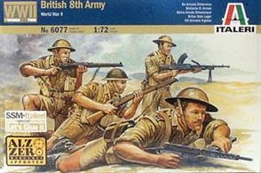 WWll British 8th Army , set contains 50 unpainted figures