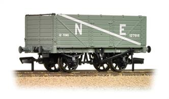 An excellent model of the classic 7-plank open coal wagon painted in the LNER goods grey livery, lettered NE.These 7-plank end door wagons were used in coal and mineral service, the end doors allowing the wagons to be emptied quickly. Built to specifications laid down by the railway companies through the Railways Clearing House (RCH) these wagons used a range of standard parts, allowing them to be repaired at any railway or private repair station. The LMS and LNER used many standard RCH wagons, while the GWR and SR re-designed their standard wagons to use the RCH parts.