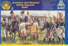Italeri 1/72 Austrian and Russian Allied General Staff Napoleonic War 603734 foot figures, 5 mounted figures and 5 horses per box