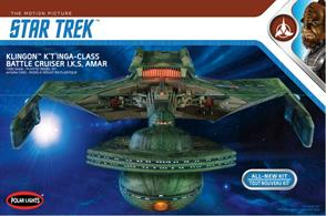 "Polar Lights all new 1:350thK't'inga will join the previously released U.S.S. Enterprise and U.S.S. Enterprise Refit kits in the same scale.At 1:350 scale, the K't'inga model kit will measure apx. 24"" long when built."