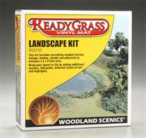 Woodland Scenics ReadyGrass Landscape Kit RG5152A landscaping kit designed for use with the Woodland Scenics ReadyGrass vinyl grass mats. This kit supplies foliage and turf materials to add bushes, undergrowth, paths and other ground features to your grass mat landscape. A bottle of adhesive with a spray top unit is included.