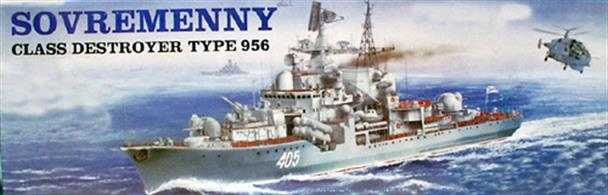 Trumpeter 1/200th Scale The Sovremenny class destroyer, type 956, is a Soviet designed comprehensive surface warship with a maximum displacement of 8,480 tons. An awesome combat system includes 8 Moskit 3M8OE missiles. This fine scale plastic kit has an assembled length of approx 780mm and a width of approx 90mm, contains about 827 plastic pieces. Also included are photo etched parts for handrails and masts. Requires polystyrene cement and paint to complete the model