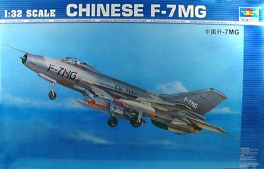 The F-7MG is the latest version of the F-7 series with double triangular wings ( inner wings at 57 degrees and outer wings at 42 degrees ), moveable front and rear fins , and additional sets of wing arm carriers which make the loading and unloading of weapons easier. approx fuselage 493mm, wingspan 253mm the kit contains metal and photo etched parts