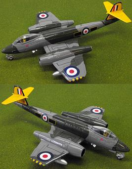 The Gloster Meteor was the first Allied Jet Fighter of World War 2 , this Corgi AA35010 diecast model represents  an RAF Gloster Meteor F.Mk8 based at RAF  North Weald in 1954