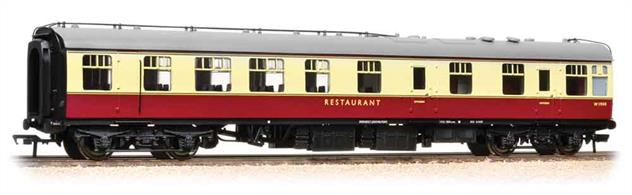A detailed model of the British Railways mark 1 coach design configured as a restaurant car with kitchen, painted in the early crimson & cream livery.